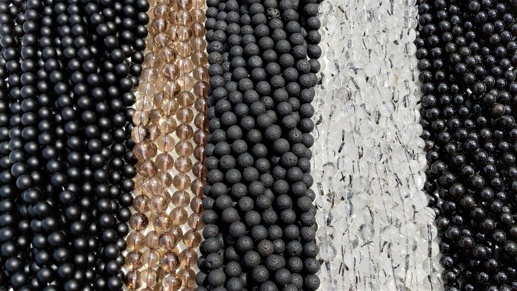 Black Onyx Beads, Smoky Quartz Beads, Lava Rock Beads, Tourmilated Quartz Beads, Black tourmaline Beads