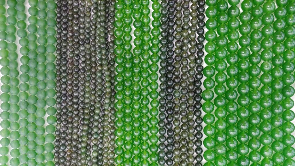 Green Jade Beads, Matte Jade Beads, Nephrite Beads