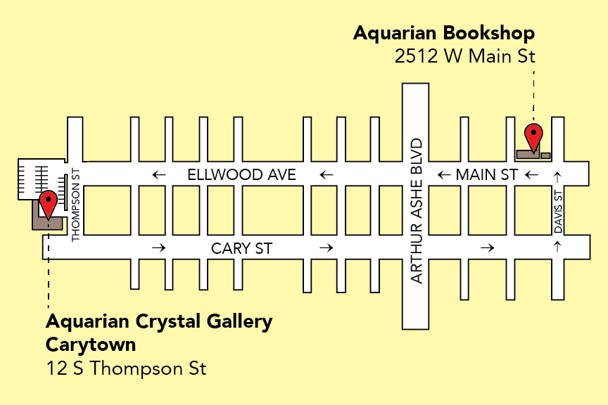 Map showing the area between Davis St and Thompson St, Cary St, Main St, and Ellwood Avenue for 12 S Thompson St and 2512 W Main St locations of Aquarian Bookshop