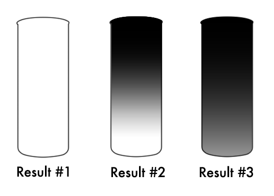 An illustration of three glass jars for seven day candles, labeled. Glass on the left is completely white and labeled Result #1. Glass in the middle is a dark to light gradient labeled result #2. Glass to the right is a black to dark gray gradient labeled Result #3.