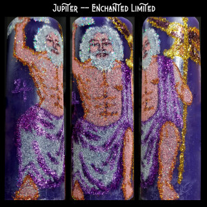 Triptich photo of Enchanted Limited Candle Jupiter: depicted in glitter, a white-haired, bearded muscular man draped in a purple cloth, holding a golden staff and silver lighting bolt, a golden eagle hovering above his right shoulder