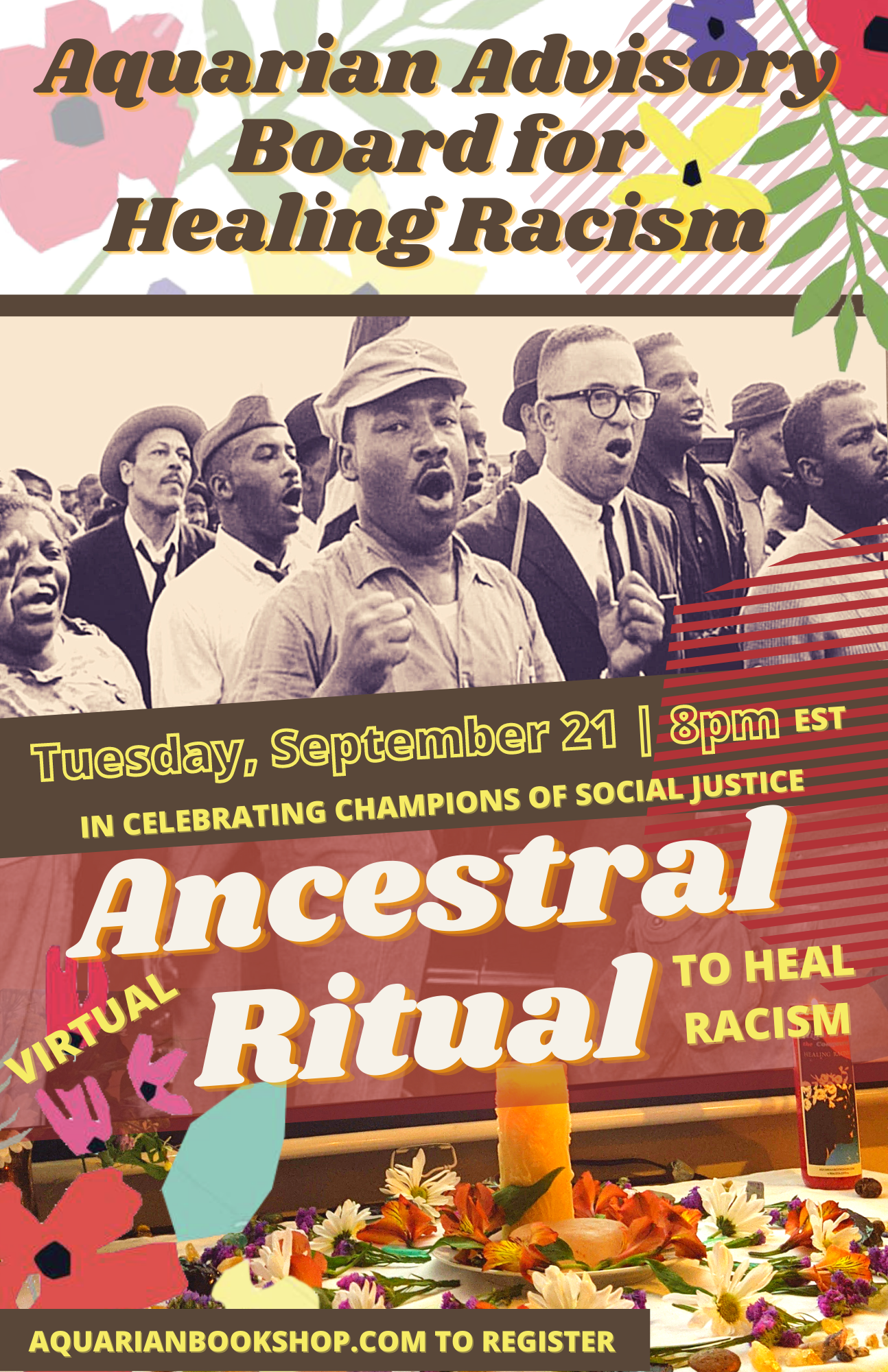 Transcription: Aquarian Advisory Board for Healing Racism | September 21, 8pm EST | In Celebrating Champions of Social Justice | Virtual Ancestral Ritual to Heal Racism | Aquarianbookshop.com to register