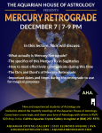 Aquarian House of Astrology Presents Mercury Retrograde December 7 2017